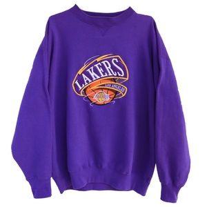 Vintage Lakers Basketball Embroidered Crewneck